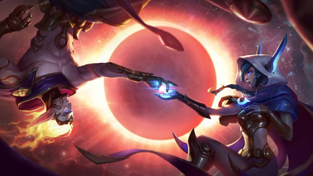 Cosmic Dusk Xayah Cosmic Dawn Rakan Wallpaper LOL