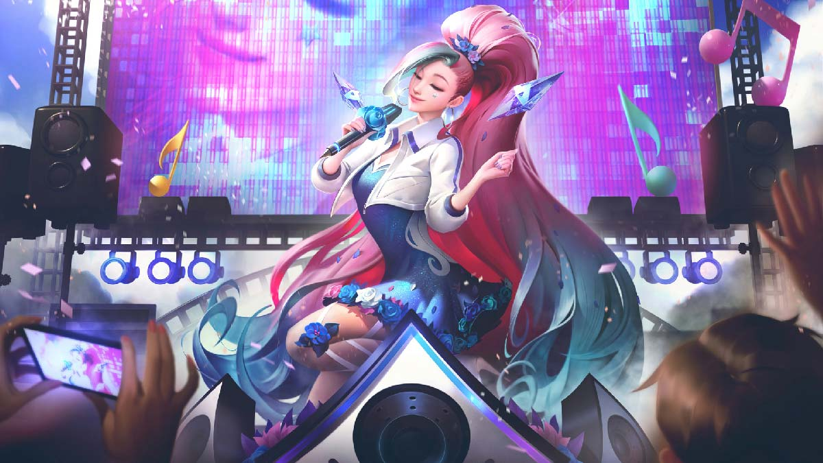 K/DA All Out Seraphine Rising Star Wallpaper LOL