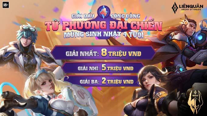 Cơ cấu giải thưởng Giải đấu Tứ Phương Đại Chiến dành cho game thủ ở 32 tỉnh thành