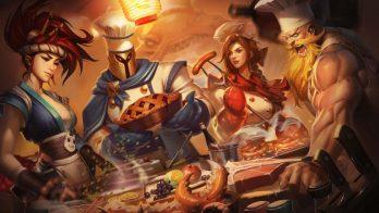 Culinary Masters Pantheon Akali Leona Olaf Wallpaper LOL